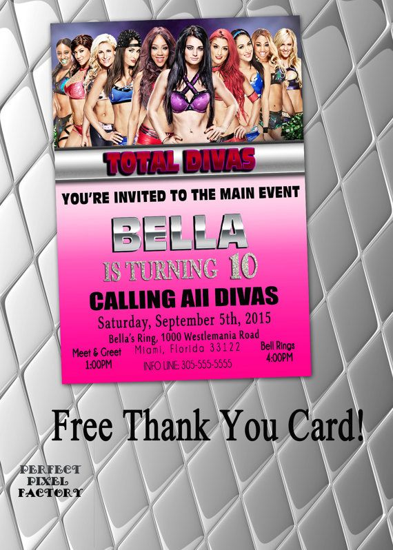 TOTAL DIVAS Invitation WWE Birthday by PerfectPixelFactory on Etsy