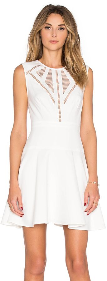 BCBGMAXAZRIA Detail Mini Dress, white, weiss, Kleider, Cocktail ...