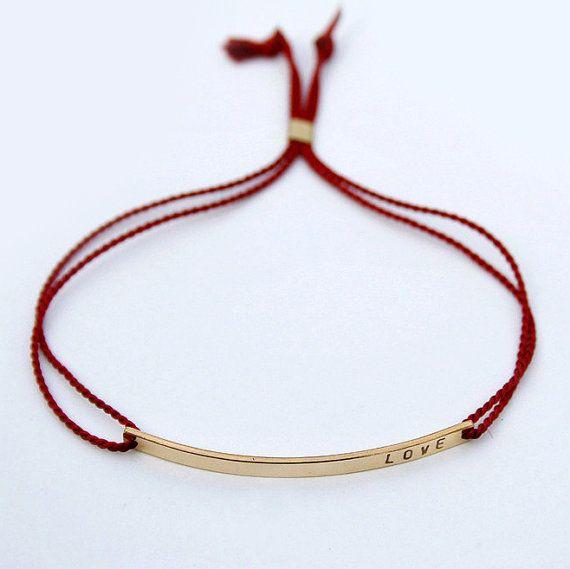 LOVE bracelet with silk cord Nameplate bracelet Love par shopLUCA