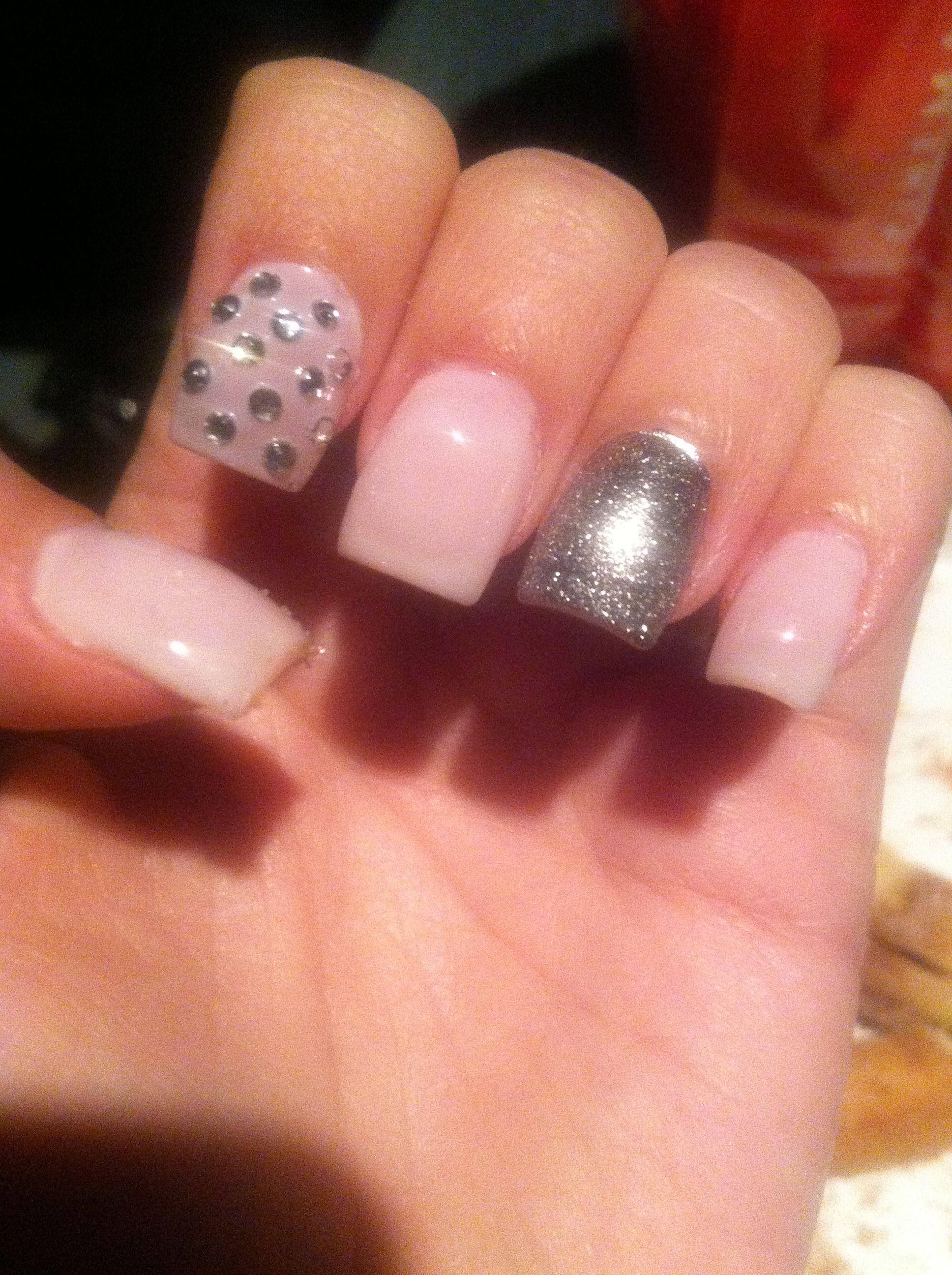 White And Silver Nail Design Rhinestones Glitter Jewels Nails