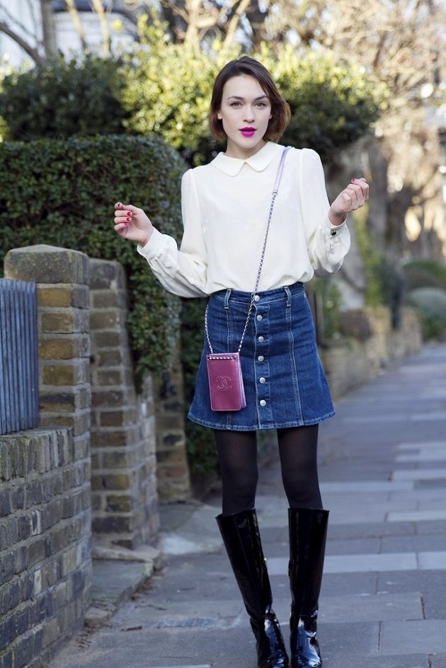 fabulous jean skirt outfit winter girls