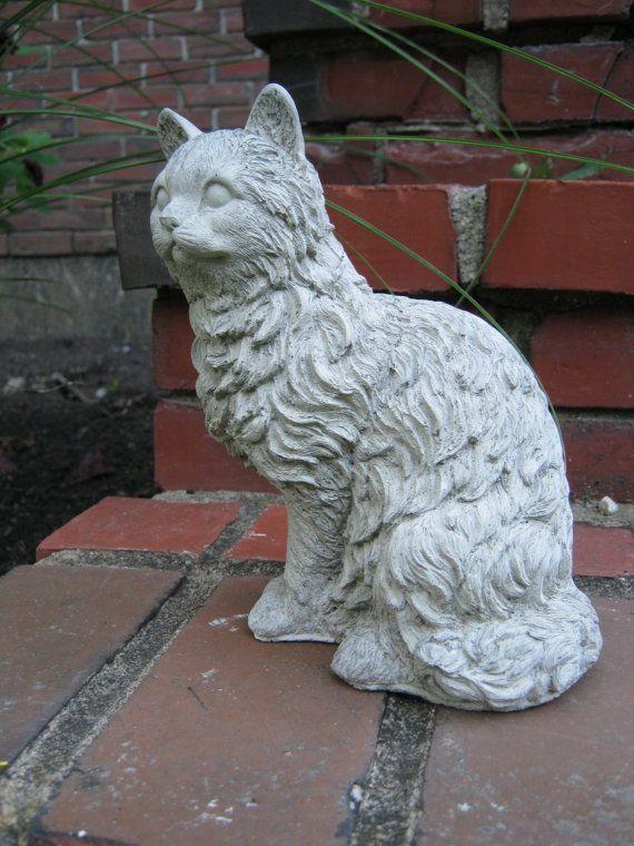 Cat statue Concrete cat figure Cement garden decor Statues of cats ...