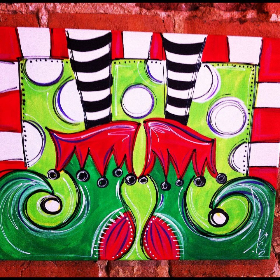 Elf feet to add to the elf feet i painted last year for Christmas canvas painting ideas
