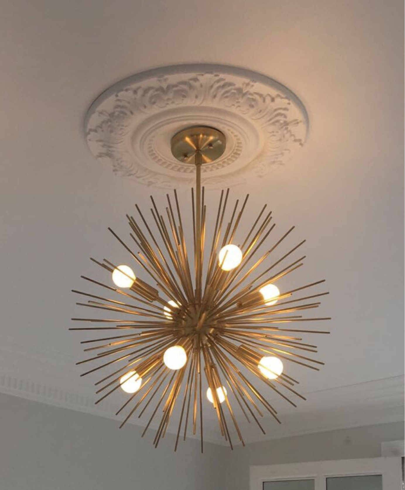 Mid Century Modern Large Round Starburst Chandelier Polished Brass Light Pendant 8 Bulb 22 Diam