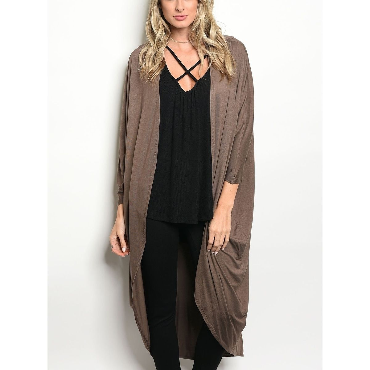 JED Women's 3/4 Sleeve Soft & Drapey Longline Cocoon Cardigan ...