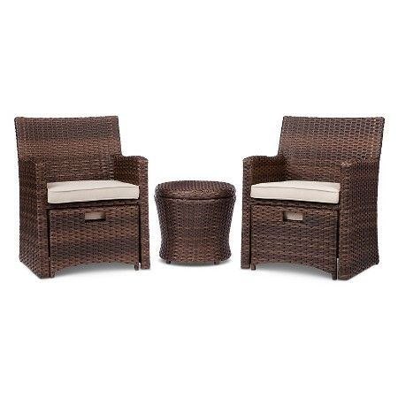 white chairs sets outdoor furniture for small spaces | Halsted 5-pc. Wicker Small Space Patio Furniture Set - Tan ...