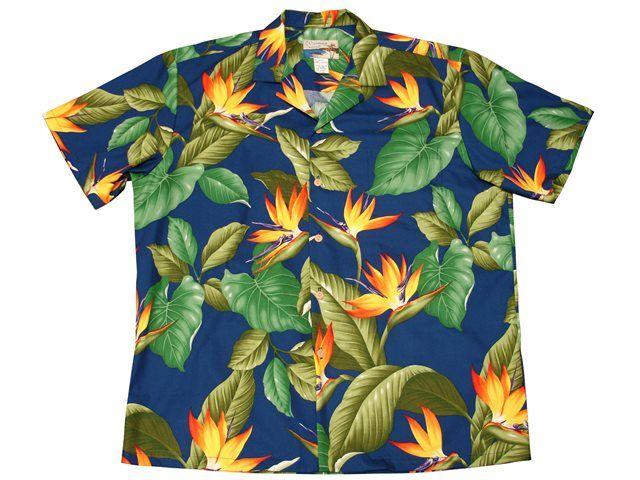 fcca2093 Waimea Casuals Airbrush Bird of paradise Royal Cotton Men's Hawaiian Shirt  | AlohaOutlet