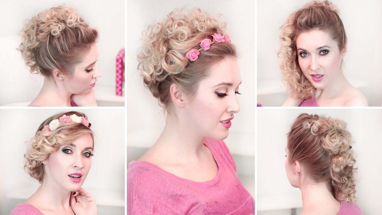 Easy Updo Hairstyles For Everyday Curly Medium Long Hair Tutorial