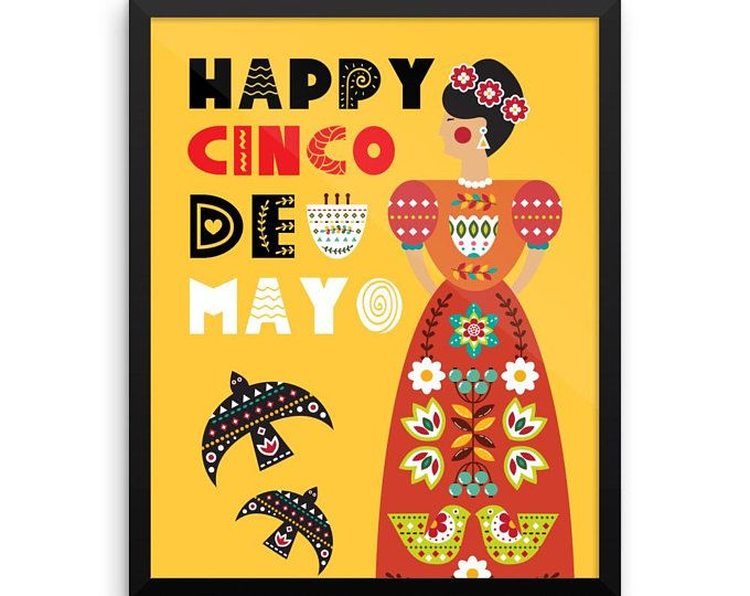 FRAMED WALL ART Happy Cinco De Mayo Mexican Artwork Framed Poster ...
