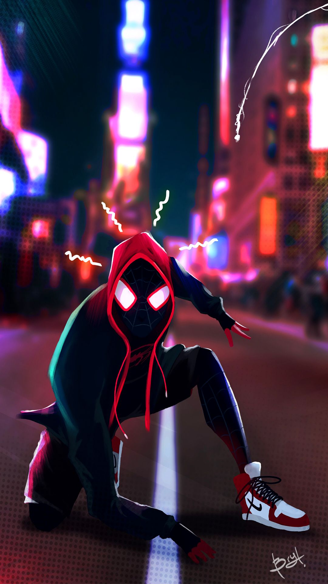 Spider Man Miles Morales Into The Spider Verse Marvel Ultimate Spiderman Artwork Marvel Comics Wallpaper Spiderman Drawing