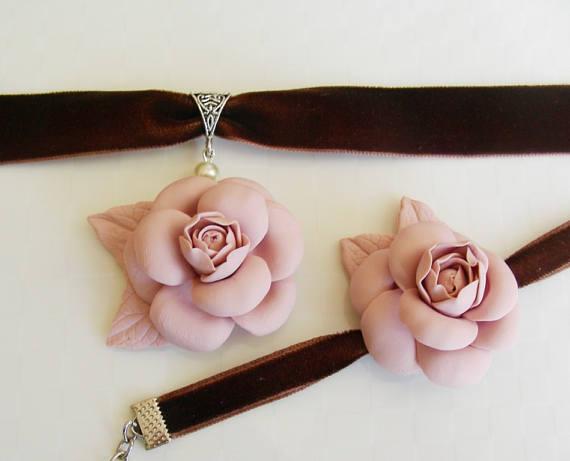 Polymer Clay Jewelry Flower Pendant Pink Camellia Polymer Clay Chanel Charm Charm Bracelet Choker Polymer Clay Pendant Polymer Clay Jewelry Clay Jewelry