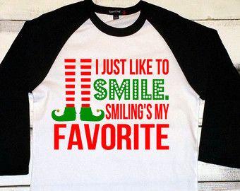 Funny Christmas Shirt, I Just Like To Smile, Christmas Elf Shirt ...