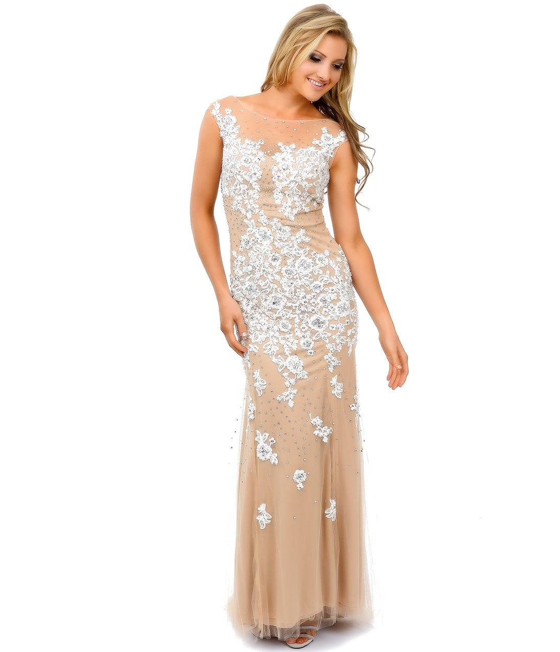 Nude u off white lace beaded appliqué tulle mermaid gown prom