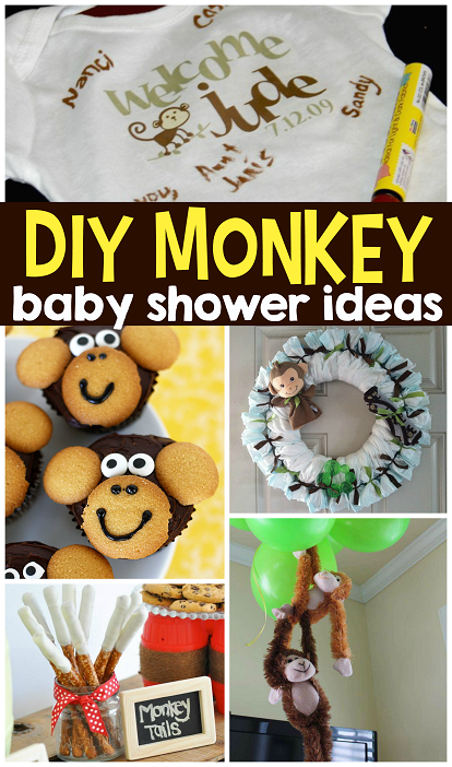 Diy monkey baby shower ideas decorations favors for Baby shower food decoration ideas