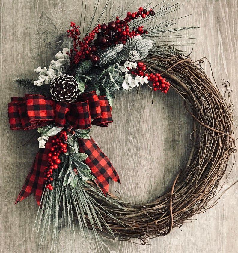 Photo of Winter Wreath, Christmas Wreath, Farmhouse Wreath, Holiday Wreath, Front Door Wreath, Winter Decor, Rustic Wreath, Front Door Wreath