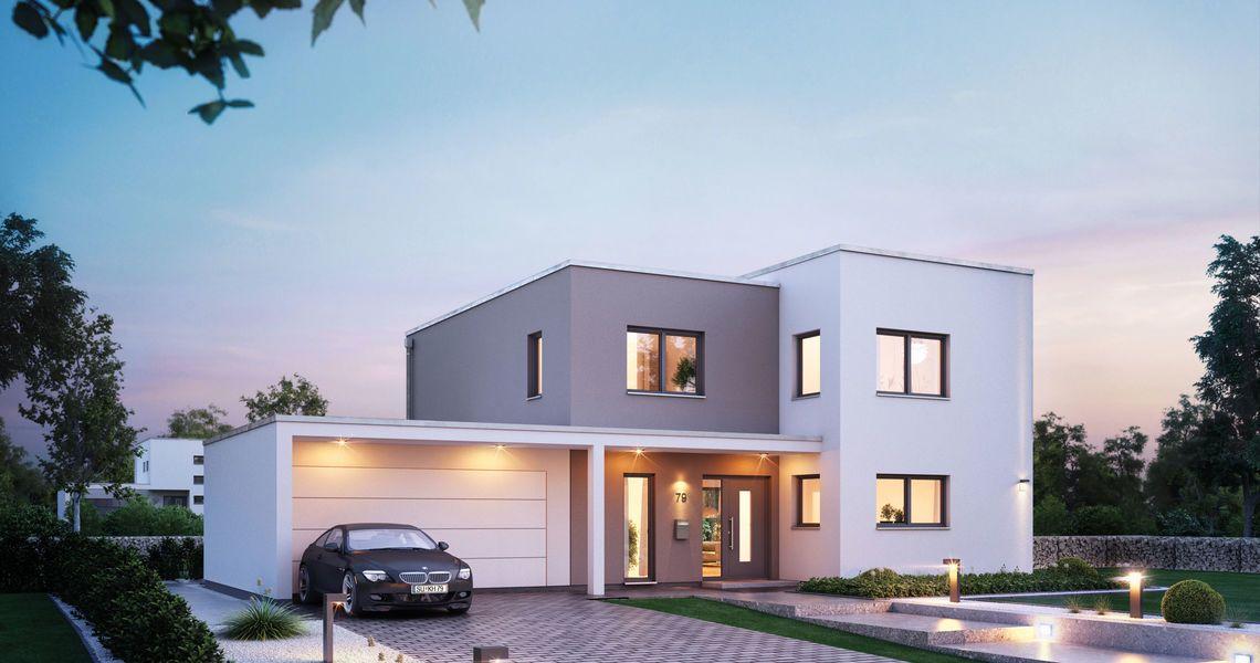 Haus bauen ideen mit garage  Massivhaus Kern-Haus Futura Bauhaus Eingangsseite am Abend | Our ...