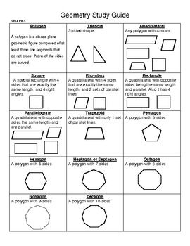 Elementary Geometry Study Guide | Geometry vocabulary