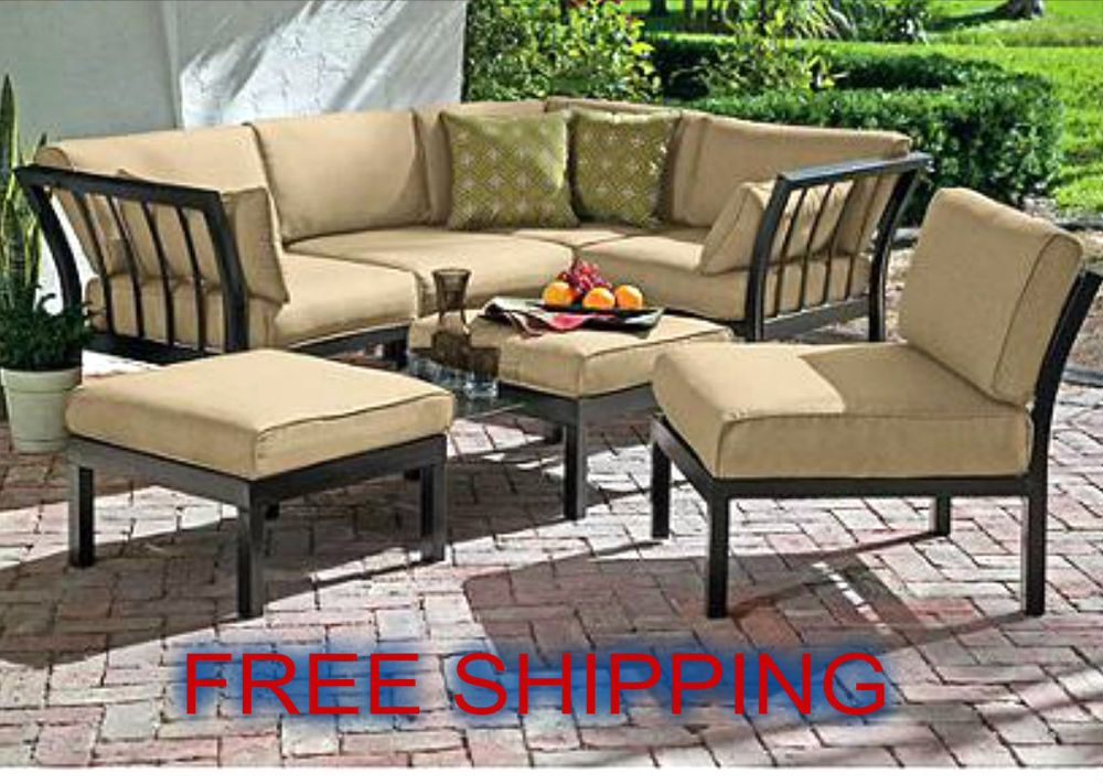Patio Dining Sectional Sofa Set Outdoor 7 Pcs Ottoman Garden