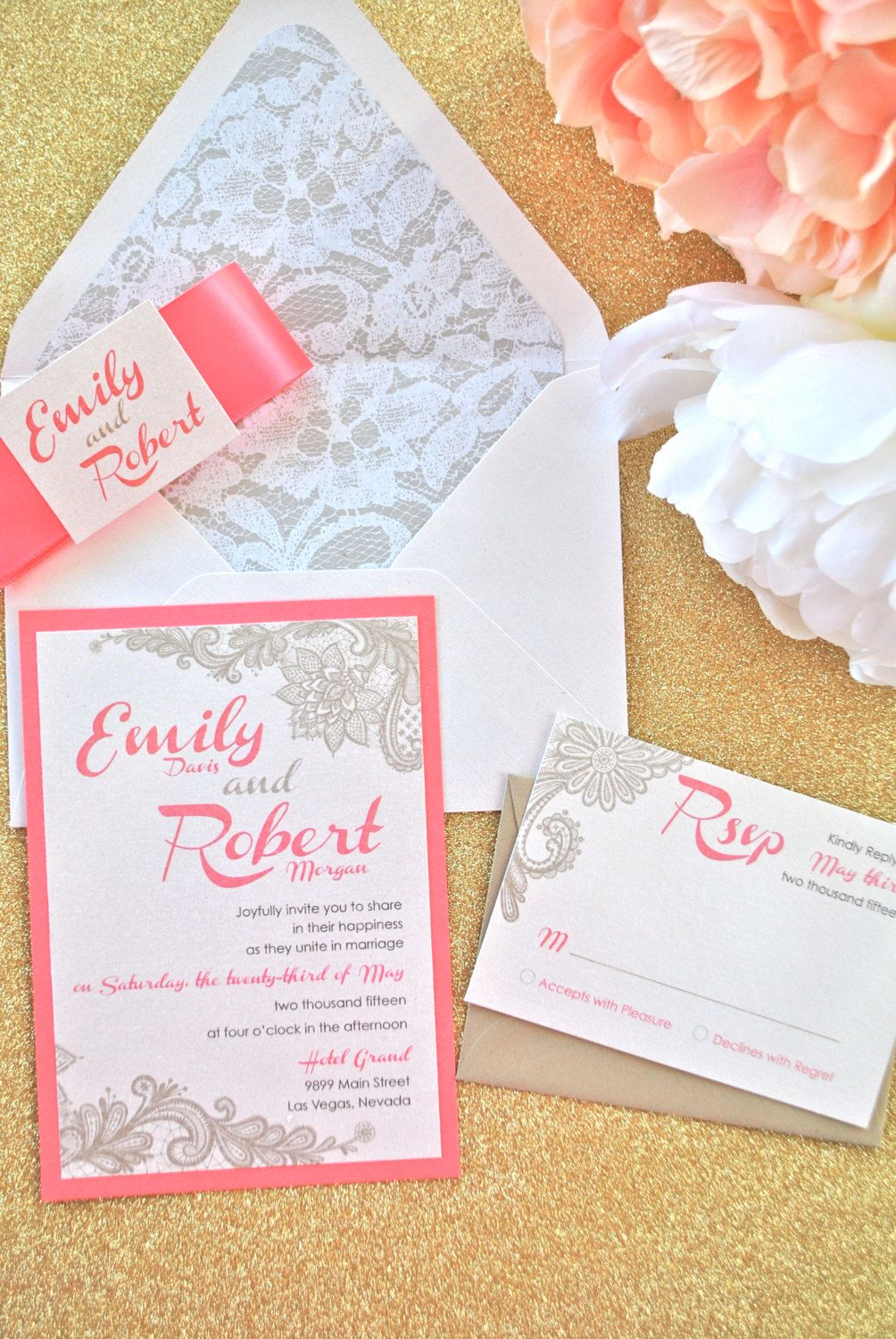 Coral and Lace Wedding Invitation NOT A by OuttheBoxCreative | Coral ...