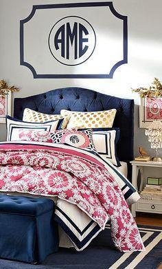 Room Navy Pink Dorm Monogram Wall Dream
