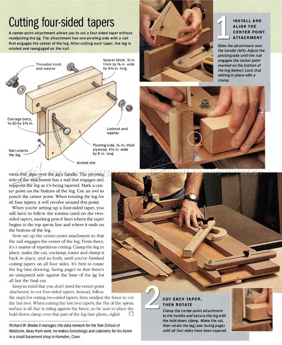 Tapering Jig Plans Furniture Legs Woodworking Jigs Woodworking Projects