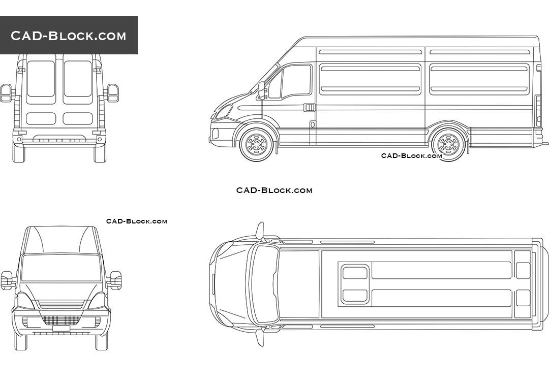 Iveco daily 35s14 cad block vehicles pinterest autocad for Cad car plan