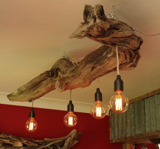 Driftwood Chandelier Vinatge Filament Bulbs Vintage Bulb Pendant
