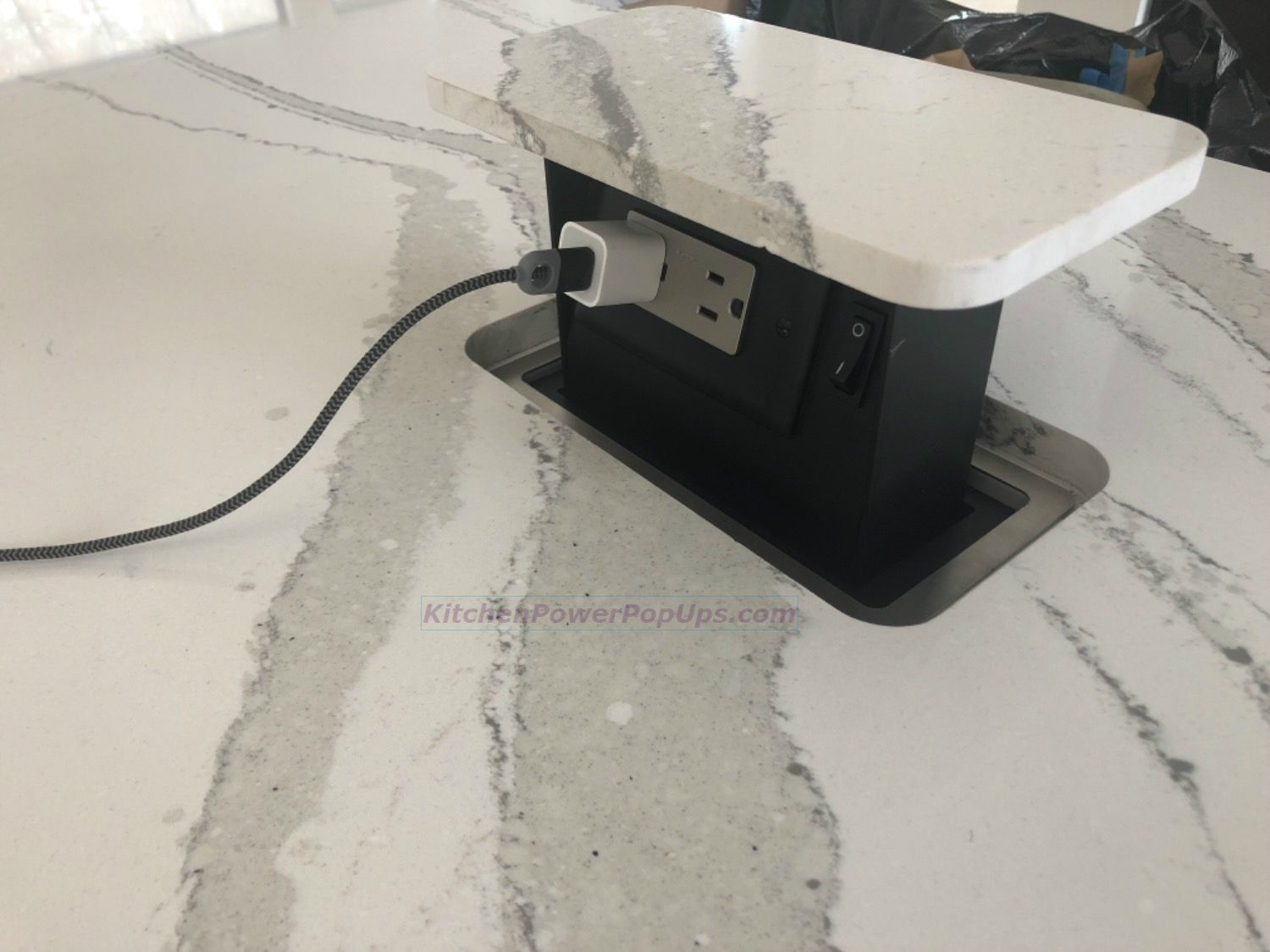 Kitchen Countertop Hidden 2 Power Pop Up Use Your Stone As The