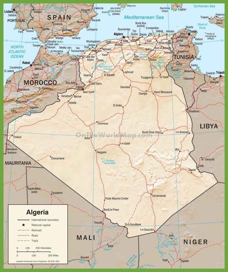 Detailed political map of Algeria with roads Political