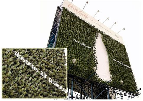 Advertising doesn't get much greener than this: Coca-Cola and the World Wildlife Fund have unveiled a new 60-by-60-foot billboard in the Philippines that's covered in Fukien tea plants, which absorb air pollution.