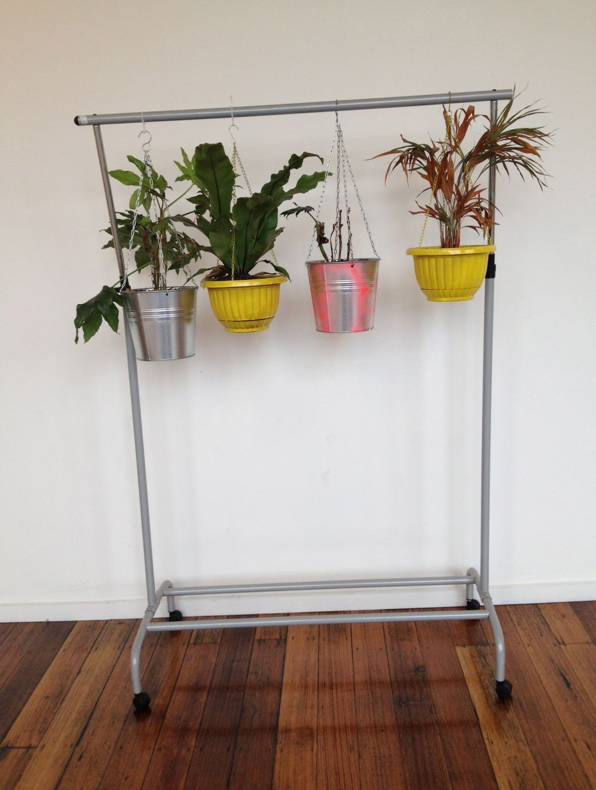 make a hanging plant stand using a cheap clothes rack ... on Stand For Hanging Plants  id=30668