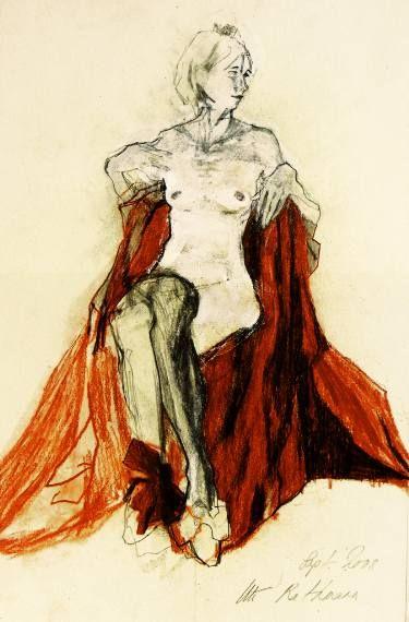 "Saatchi Art Artist Ute Rathmann; Drawing, ""Hommage à Egon Schiele IV"" #art"