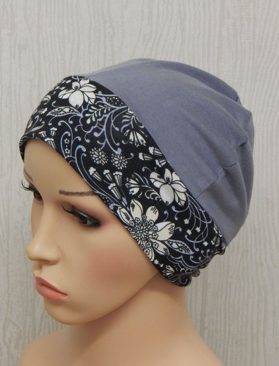 Cloud grey chemo cap, jersey cancer hat, stretchy chemotherapy ...