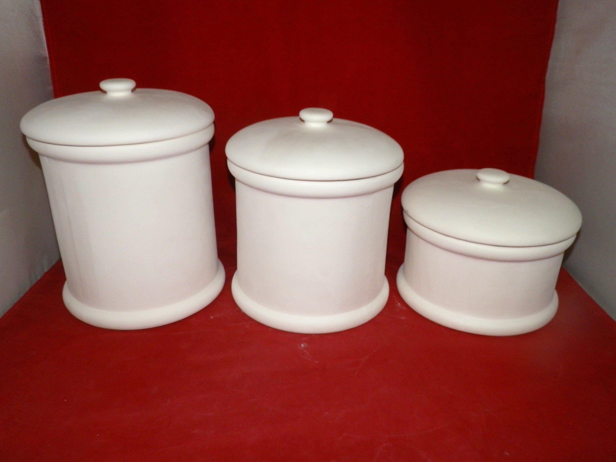 6 piece plain kitchen canister set ceramic bisque ready to paint