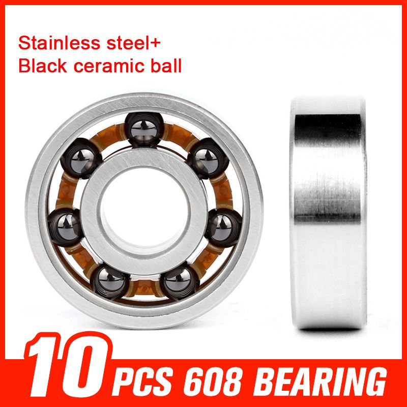 10pcs 608 Bearings Stainless Steel Black Ceramic Ball Bearing For Bearing Skateboard Hardware Tool Accessories Skateboard Hardware Hardware Tool Accessories