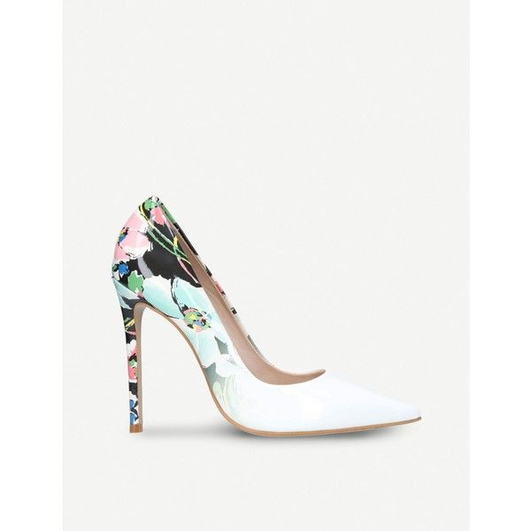 Floral 'alice' print high heel court shoes