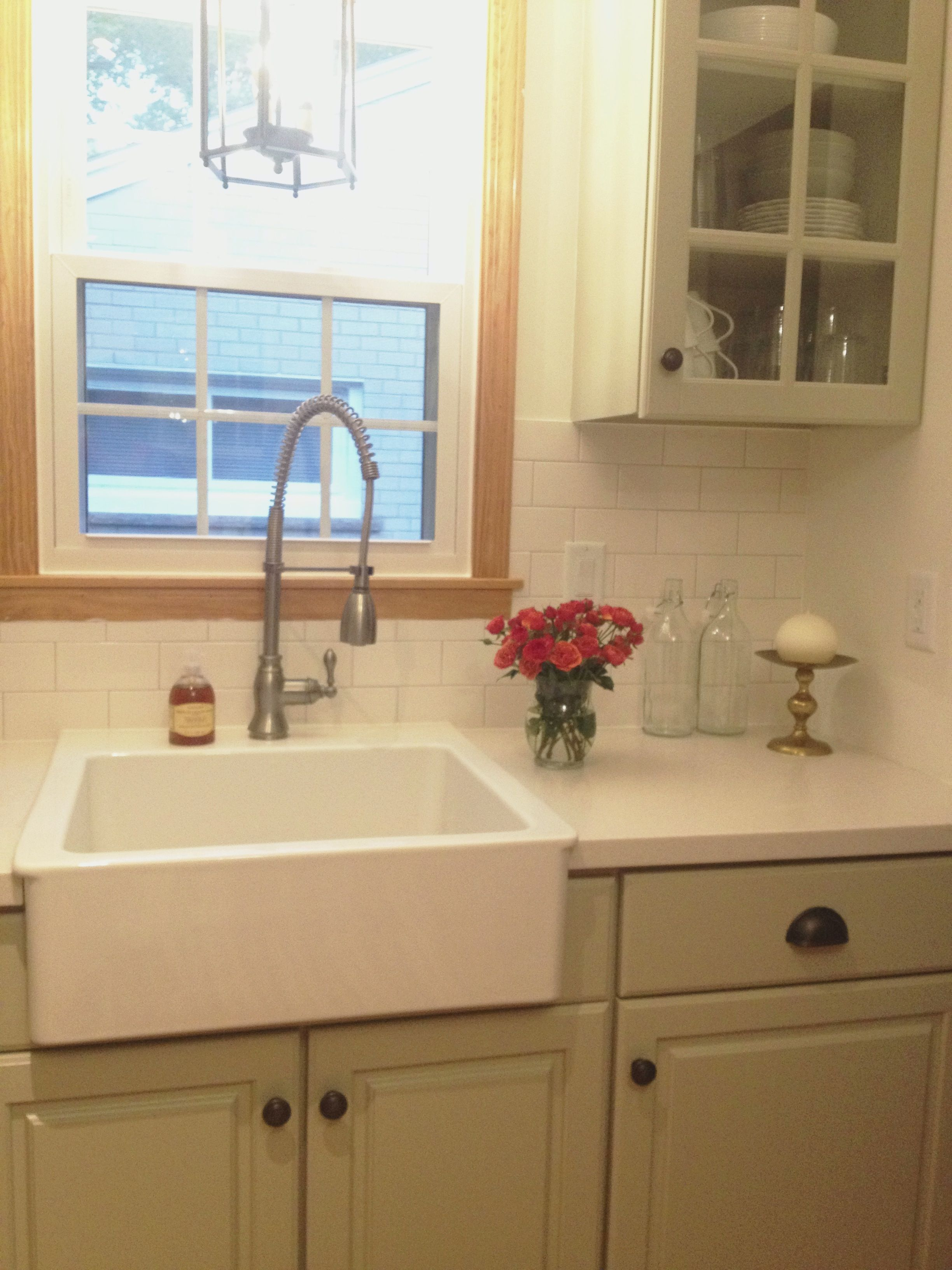 with gray silver grout corian counters in linen ikea farmhouse sink