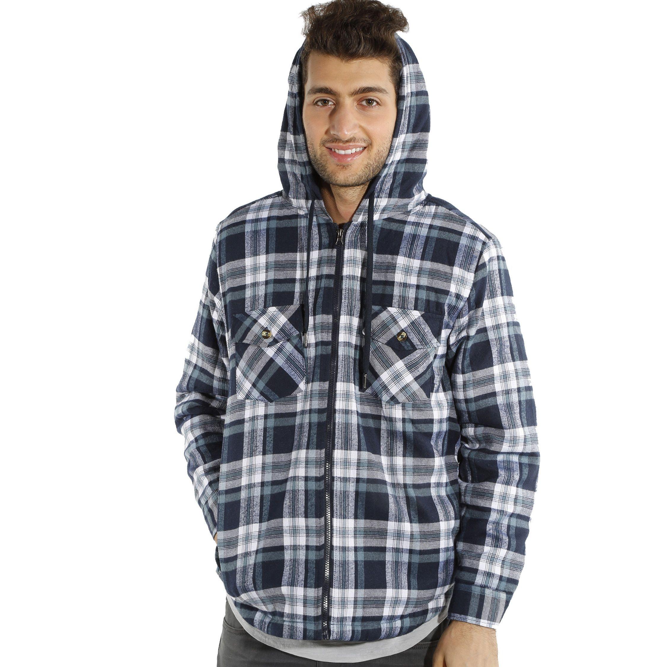 Mens hooded flannel jacket  Menus Hooded Flannel Plaid Hooded Jacket Black Large Size L