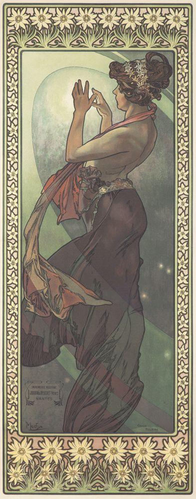The Stars / Étoile Polaire. 1902. ALPHONSE MUCHA (1860-1939) Size: 11 7/8 x 30 5/8 in./30.2 x 77.8 cm Imp. F. Champenois, Paris.