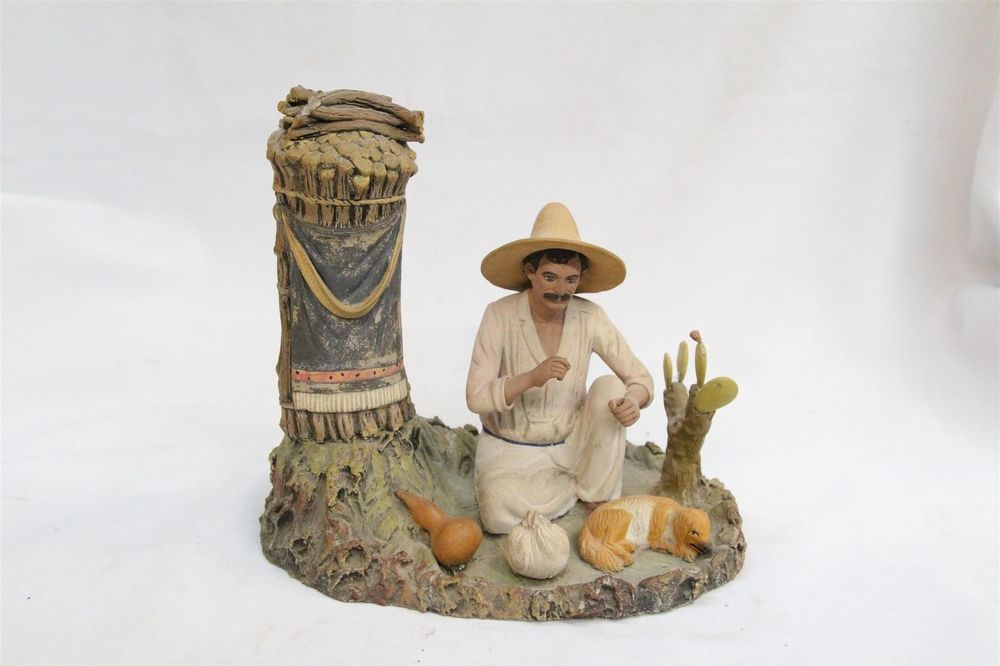 :D❤️Old Tlaquepaque Man Cactus Dog Blanket Onion Mexican Pottery Figurine RARE