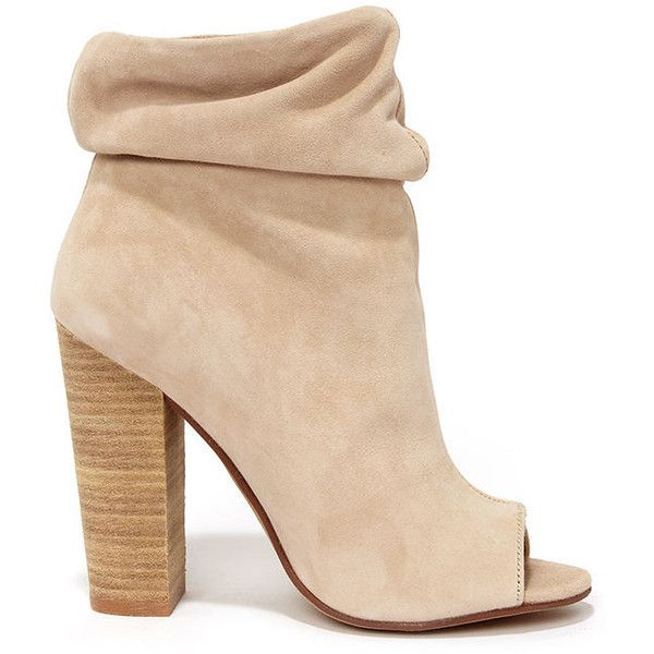 A must-have this season, Kristin Cavallari's Chinese Laundry Laurel Nude Kid  Suede Peep Toe Booties have the perfect touch of ruching and chic stacked  heel!