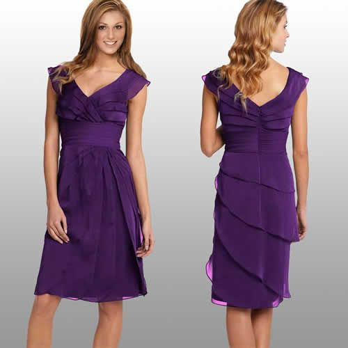 Purple Fashion | Diaphanous Tiered Fashion Cocktail Party Dress. Layered  Faux .