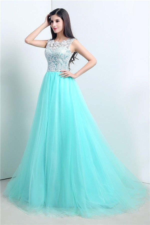 Cute Ball Gown Aqua Tulle White Lace Prom Dress With Buttons | Aqua ...