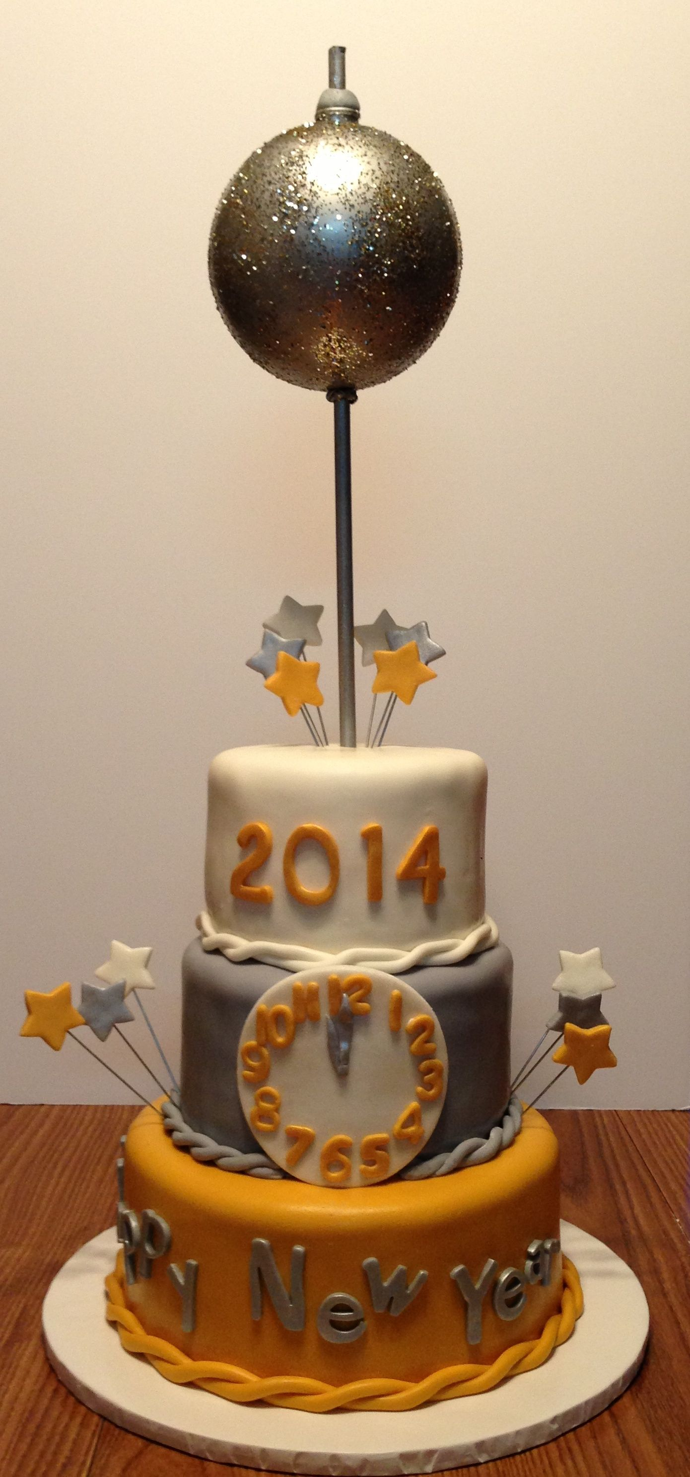 Happy New Year Ball Drop Cake Mm Fondant Covered Tiers