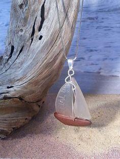 Sea Glass Sailboat Pendant