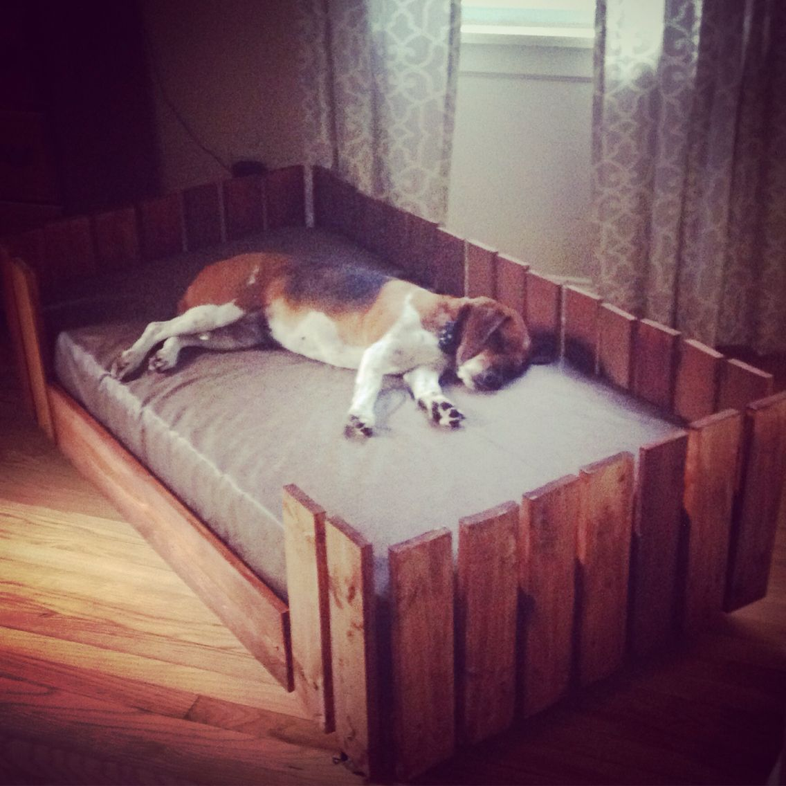 Pallet dog bed with toddler sized mattress. I built this ...