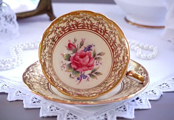 Aynsley Tea Cup and Saucer Pale Yellow Teacup by TeacupsAndOldLace