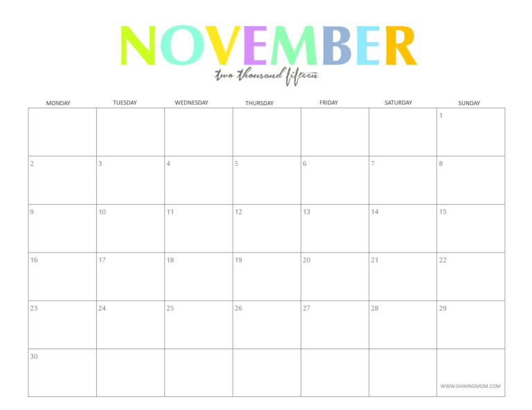 november 2015 blank printable calendar