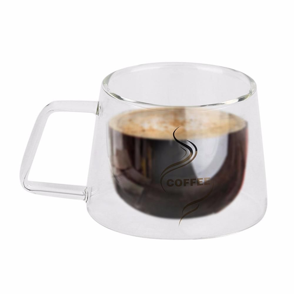 Double Layer Gl Coffee Mug Cup Borosilicate Water Bottle Chinese Tea Fashion Design Heat Resistant