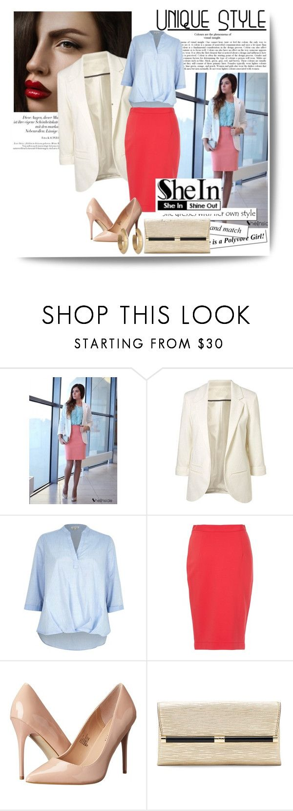 """""""Sleeves Blazer Shein"""" by dzena-05 ❤ liked on Polyvore featuring River Island, French Connection, Madden Girl, Diane Von Furstenberg and House of Harlow 1960"""